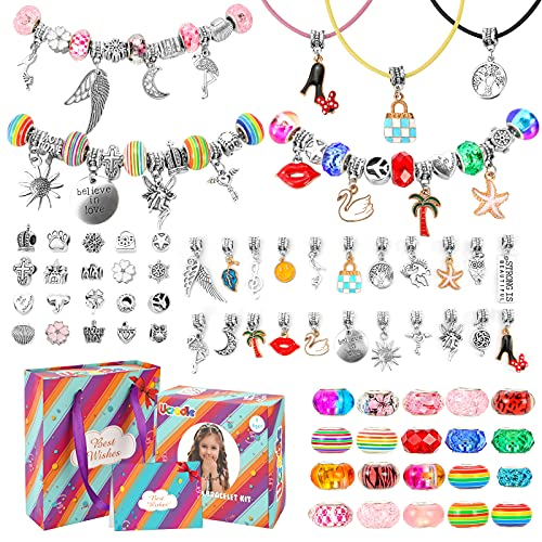 Ucradle Girls Charm Bracelet Making Kit,Jewellery Making Kit for Girls Age 8-10 with Beads Silver Chains Color Pendants DIY Arts and Crafts Sets for Kids