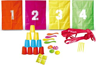 POCO DIVO 3in1 Outdoor Picnic Lawn Games, 4-Player Backyard Party Sports, 32pcs Kids Favor Family Field Day Fun Set; Sack ...