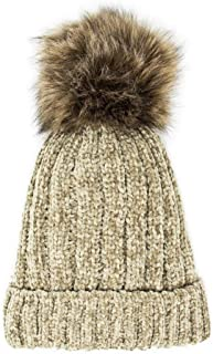 Me Plus Warm Fleece Lined Cable Knitted Faux Fur Pompom Beanie Hat - Soft Chunky Beanies for Women