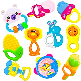 ToyerBee Baby Rattle &Teething Toys with Container,10PCS Musical&Grasping Toy Set in Various Shapes and Colors, Early Learning Toys for Little Hands,Best Gifts for 3-12 Month Newborn & Infant,BPA FREE