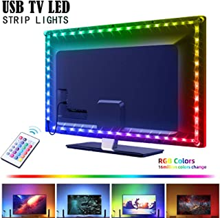 USB LED Strip Lights for 40-60in TV,AYSEMO 6.56Ft TV LED Backlight Kit with Remote - 16 Color Changing Lights,5050 LEDs,LED Light Strips for Room Home Movie Decor