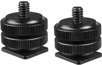 (2 Packs) Fotasy Hot Shoe to 1/4 Adapter, Camera Hot Shoe Mount Adapter, Flash Shoe to 1/4