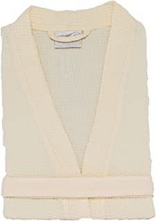 Thigh Length Waffle Weave Kimono Robes, Gowns for Bridesmaids (Beige,One Size)