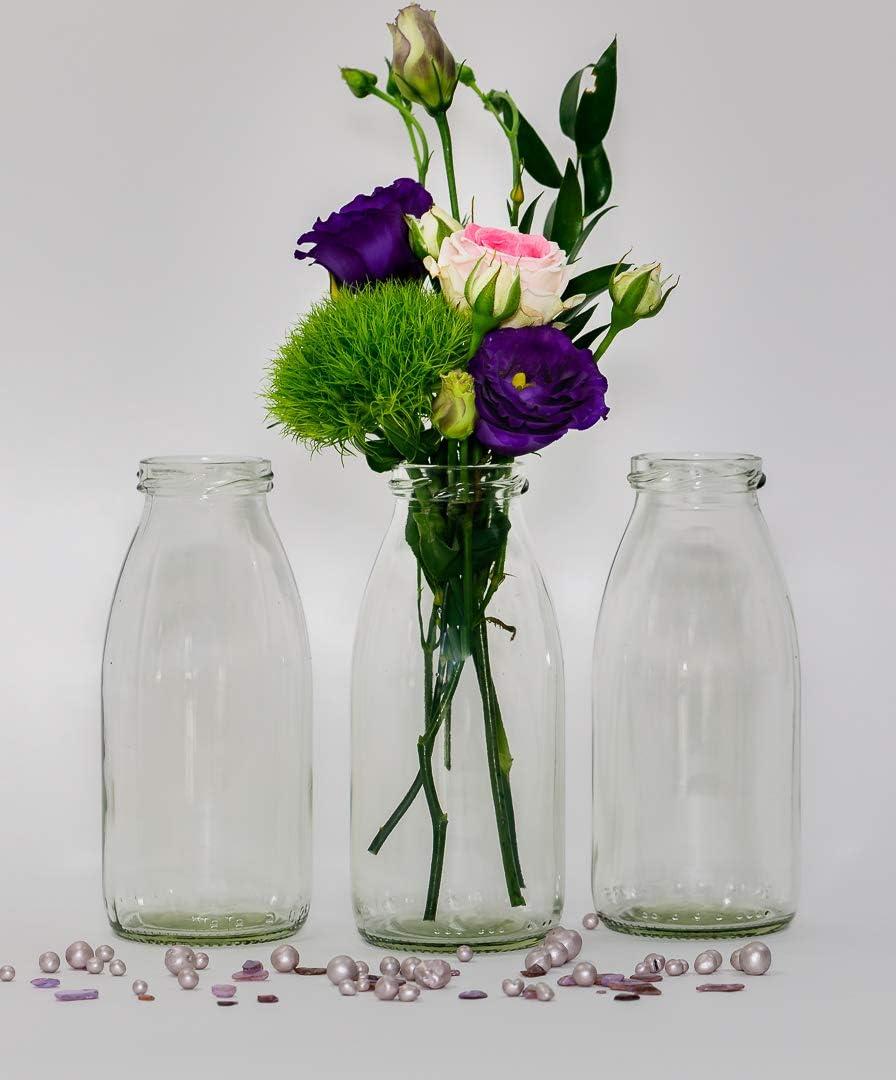 Casavetro - 24 Botellas de Cristal en Estilo Mesa de Boda florero pequeño rústico para Decorar mesas, jarrones de Cristal, Vidrio, Blanco, 24 Unidades ...