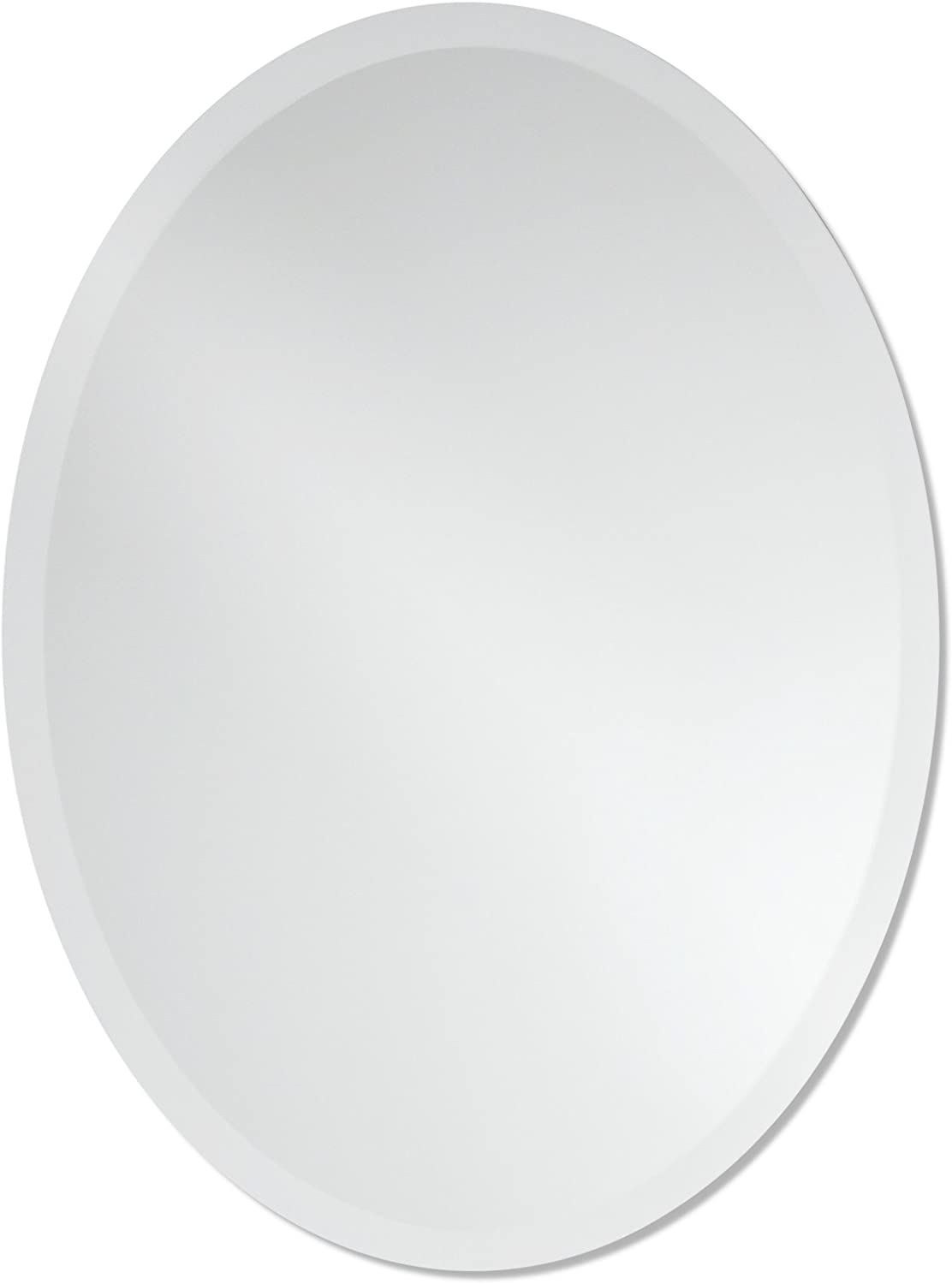 Small Frameless Beveled Oval Wall Mirror   Bathroom, Vanity, Bedroom Mirror   20-inch x 27-inch