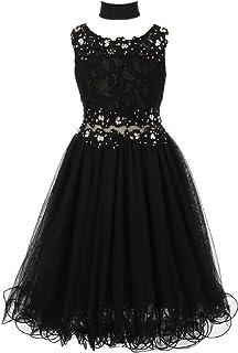 15b4acd6d1f1 Cinderella Couture Big Girls Black Lace Mesh Rhinestone Wired Flower Girl  Dress 8-16