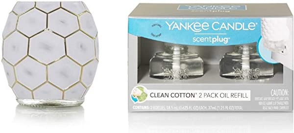 Yankee Candle Multi Faceted Scent Plug Diffuser Base With 2 Clean Cotton Home Fragrance Electric Refills