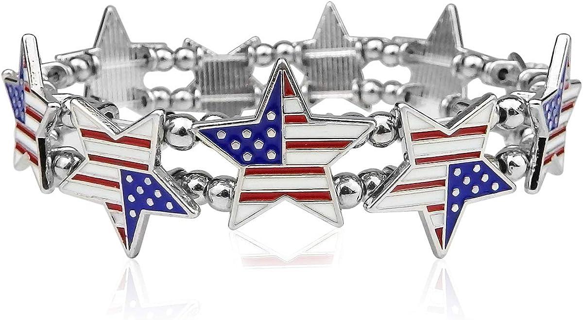 Handmade USA American Flag Patriotic Bracelet In Red Detroit Mall 1 year warranty Bangle Blue