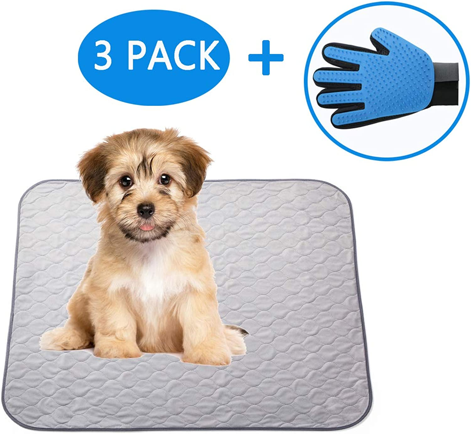 Paw Jamboree Washable Pee Pads for Dogs 2 Large & 1 Travel Training Pads for Dogs Absorbent Waterproof Pee Pad Reusable Puppy Training Pads Dog Whelping Mats