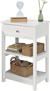 SoBuy Bedside Table, End Table, Living Room Side Table with 1 Drawer and Shelves, White, FBT46-W