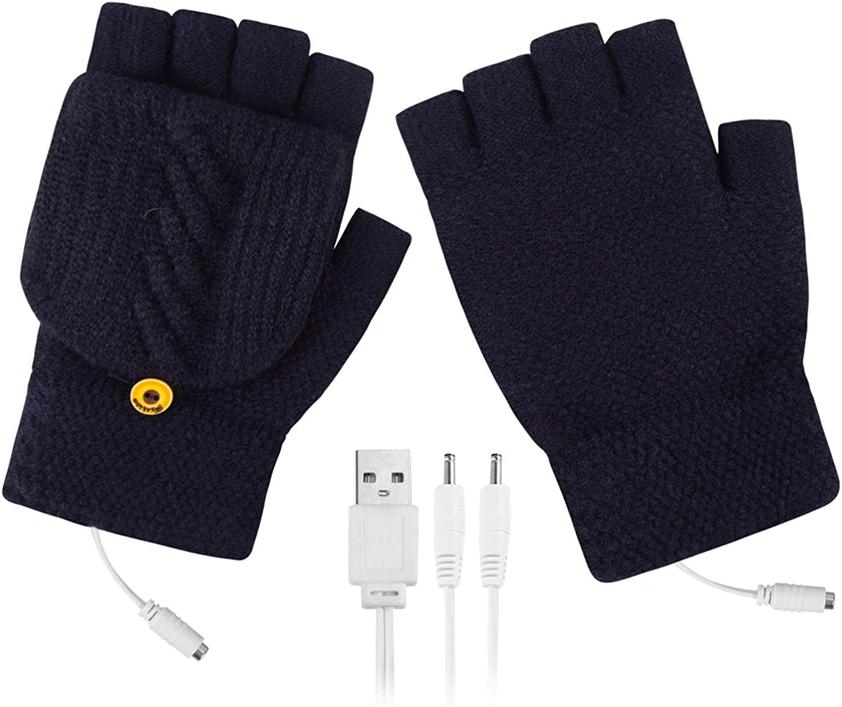USB Heated Mittens, Winter Fingerless USB Heating Warm Hot Hands Heated Gloves, Knitted Laptop Gloves for Skiing, Typing, Fishing, Biking, Hiking