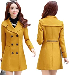 Womens Winter Double-Breasted Warm Wool Blend Long Pea Coats