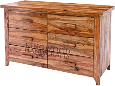 KINGWOOD FURNITURE Chest of Drawer in Sheesham Wood with Honey Finish (39 x 16 x 28 Inches, Brown)