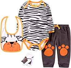 Newborn Baby Boys Girls Tiger Print Outfits Set Cartoon Graphic Layette Set Romper + Pants + Bib + Footie