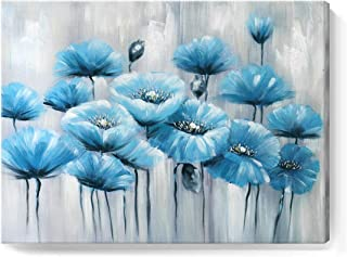 amatop Blue Wall Art 100% Hand-Painted Abstract Flower Oil Painting Modern Framed Floral Artwork on Wrapped Canvas for Living Room Bedroom Home Office Kitchen Decor Ready to Hang 24x32inch