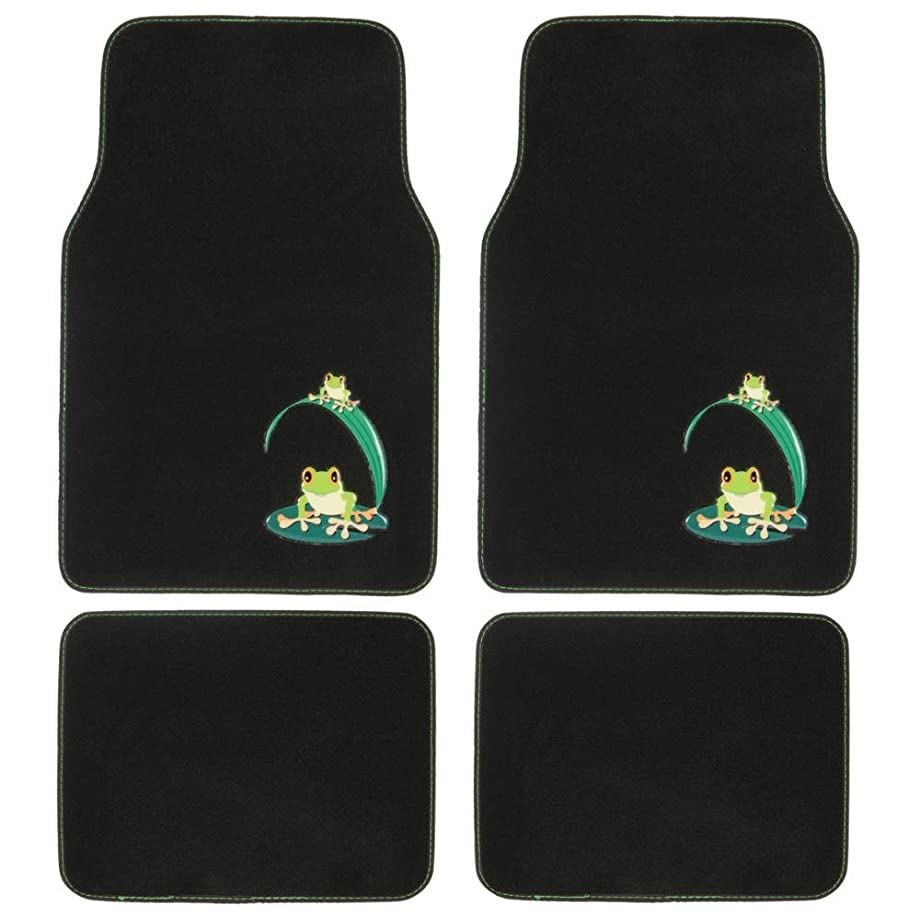 BDK MT-512 Green Carpet Car Floor Mats, 4 Pieces Front & Rear Full Set with Rubber Backing, Universal Fit, Frog