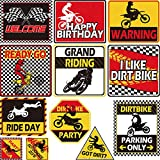Zonon 12 Pieces Dirt Bike Party Decoration 9.8 inch Motorcycle Party Cutout Happy Birthday Dirt Bike Sign Motorcycle Birthday Decorations for Kids Wall Room Birthday Party Supplies