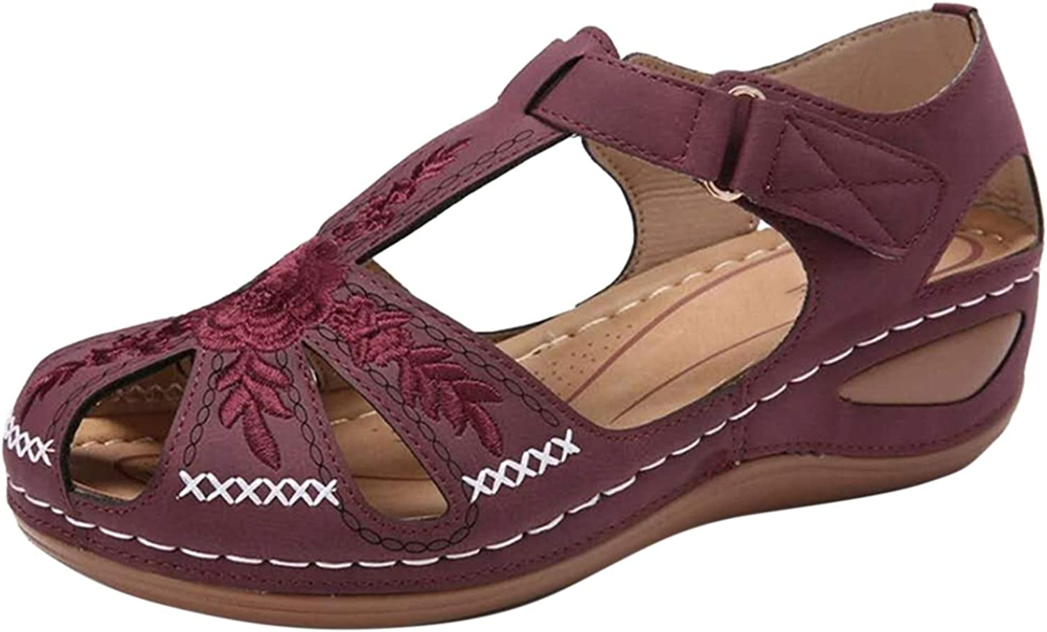 Doad Casual Sandals for Outlet ☆ Free Shipping Women Embroidered Wedge Sli Heel Ranking TOP19