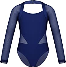 easyforever Kids Girls Ballet Athletics Dancewear Long Sleeves Cutout Back Mesh Splice Jumpsuit Leotard