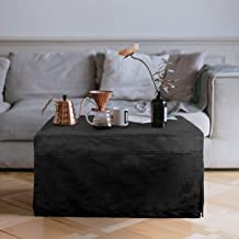 Folding Guest Bed Ottoman Sofa with Linen Slip Cover (Milano Black)