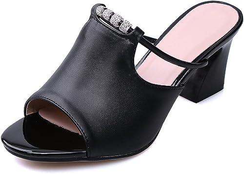 Chaussures Sandales Femmes Sandales Sandales Bouche Poisson épais avec Grande Taille Occasionnels,noir,33  édition limitée chaude