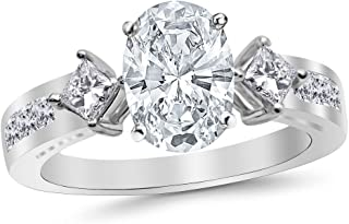 3.75 Ctw 14K White Gold Channel Set 3 Three Stone Princess Oval Cut Diamond Engagement Ring (3 Ct H Color SI2 Clarity Center Stone)