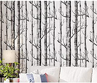 "Birch Tree Wallpaper, H2MTOOL Self Adhesive Wood Contact Paper Peel and Stick (17.7"" x 78.7"", White Birch)"