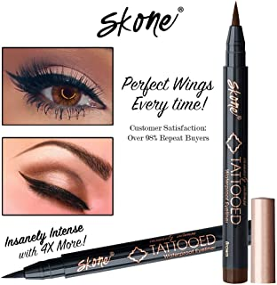 Skone Insanely Intense Tattooed Liquid Eyeliner - Waterproof Longlasting Smudge Proof - Get 4X More (Brown Eyeliner)
