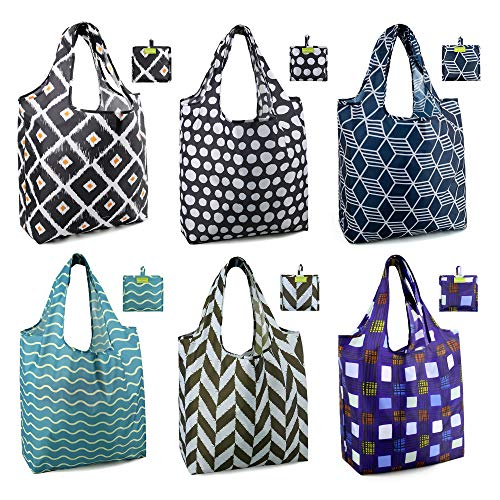Shopping Bags Reusable Grocery Tote Bags 6 Pack XLarge 50LBS Ripstop Geometric Fashion Recycling Bags with Pouch Bulk Waterproof Machine Washable Nylon Bags Black Gray Purple Navy Teal Brown
