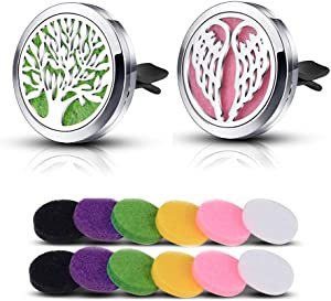 INFUSEU 2PC Car Air Freshener Essential Oil Diffuser  Stainless Steel Tree Life  amp  Wing Aromatherapy Locket with Clip and Refill Felt Pads for Car  Living Room  Office