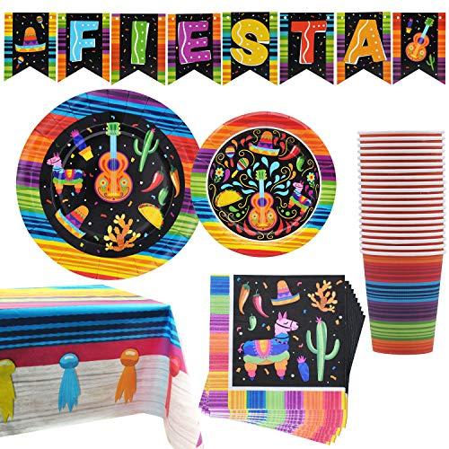 82 PCS Mexican Themed Fiesta Party Supplies Set Including Plates, Cups, Napkins, Tablecloth and Banner for Mexican-Themed School Dance, Cinco de Mayo, and Fiesta Themed Party