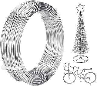 GOLRISEN 30 Mètres Fil Aluminium 2mm de Diamètre Fil d'Aluminium Argenté Bijoux Fil Aluminium Souple Fil d'Artisanat Métal...