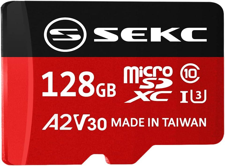 SEKC 128GB microSDXC Memory Card with SD Adapter A2 UHS-I U3 V30 Full HD 4K Ultra HD (SV30A2128)