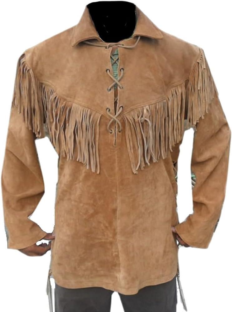 coolhides Men's Western Fringed Cowboy Leather Shirt