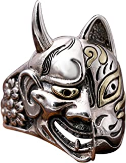 Gothic 925 Sterling Silver Japanese Hannya Demon & Fox Mask Ring Jewelry for Men Women Size 8.5-10.5