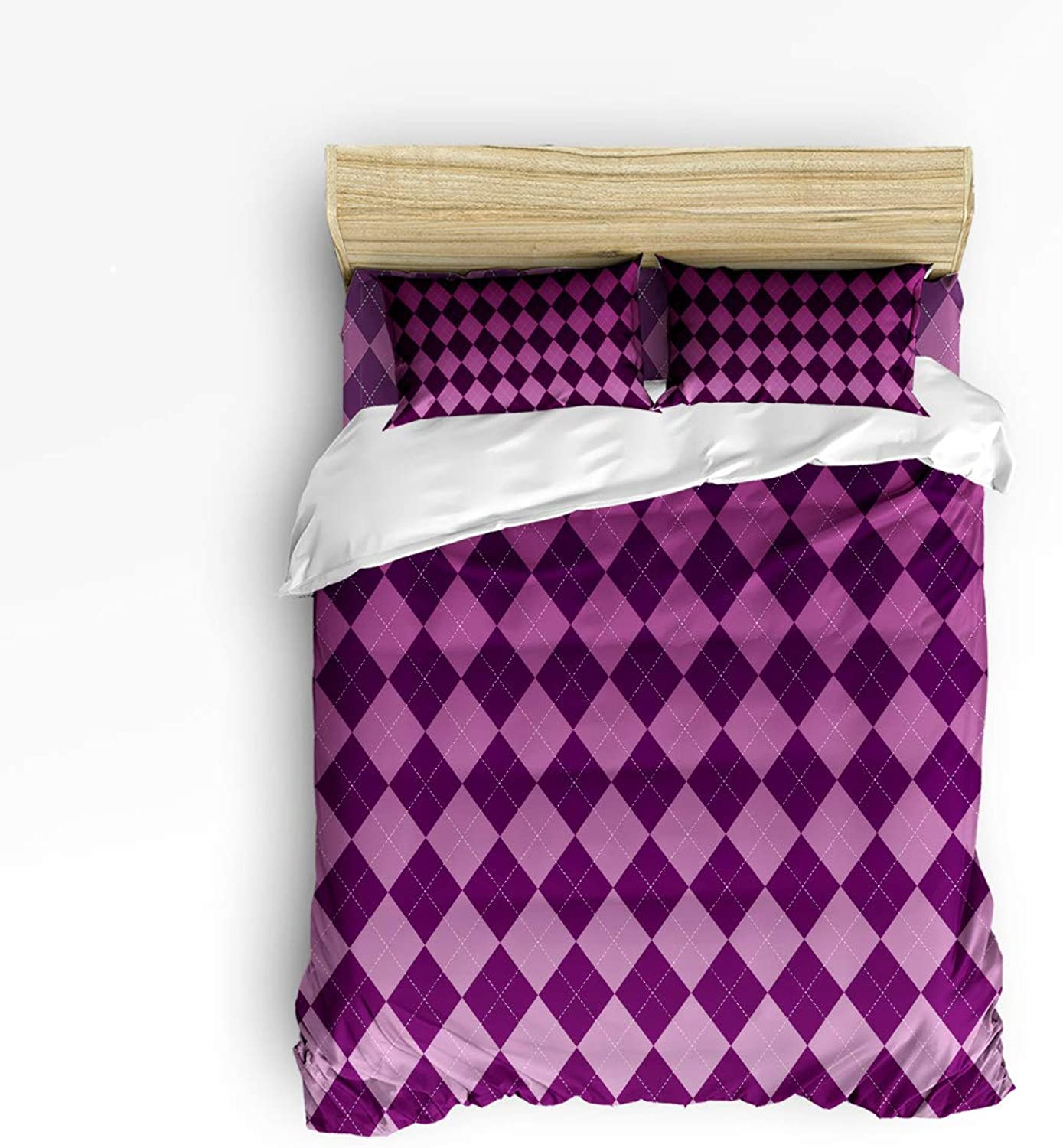 Classic Purple Gradation Grid Queen Size 4 Piece Bedding Set, Ultra Soft Microfiber Lightweight Microfiber Duvet