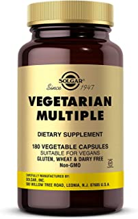 Solgar Vegetarian Multiple, 180 Vegetable Capsules - Vitamins A, C, D, E & More - Contains Irons - Plus Zinc for Healthy I...