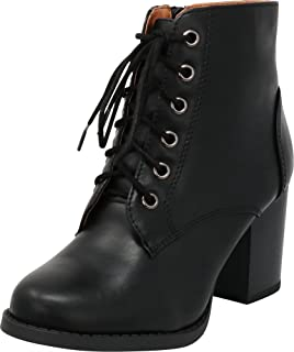 Women's Round Toe Lace-Up Chunky Stacked Block Heel Ankle Bootie
