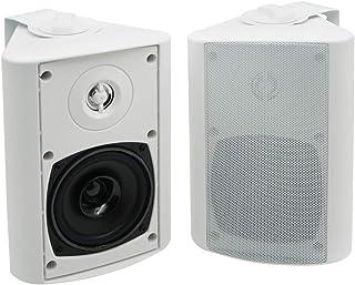 Herdio Altavoces Bluetooth para interiores y exteriores de 4 pulgadas Altavoces impermeables para montaje en pared Altavoces para porche terraza(Blanco)