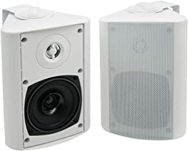 Herdio 4 Inches Outdoor Bluetooth Speakers Waterproof Patio Deck Wall Mount Speakers (White)