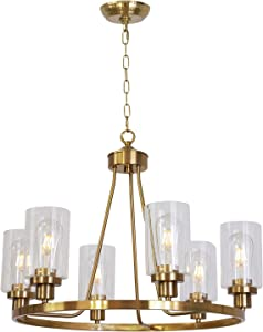 MELUCEE Island Lighting Brass 6 Lights Round Chandelier Flush Mount Dining Room Lighting Fixtures Hanging Glass Pendant Light for Kitchen Foyer Bedroom UL Listed