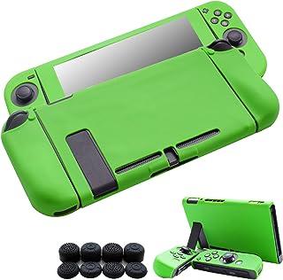 Hikfly Gel de Silicona Agarre Antideslizante Kits de Protección Carcasas Cubrir Piel para Nintendo Switch Consolas y Joy-Con Controlador Con 8pcs Gel de Silicona Empuñaduras Gorras(Verde)