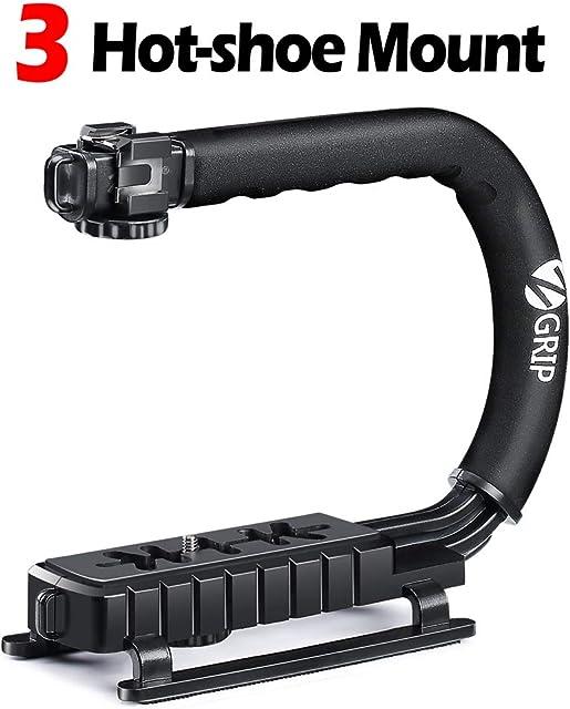 Zeadio Estabilizador portátil con 3 zócalo accesorio para Canon Nikon Pentax SONY Panasonic Samsung y Olympus DSLR cámara videocámara