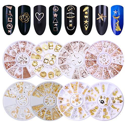 NICOLE DIARY Nail Rivet Goujons Ensemble Métal Métallique Perles Or Argent Rose Or Nail Sticker Gems Mixtes Nail Accessoires DIY Manucure 3D Nail Art Décoration (10 Boîtes)