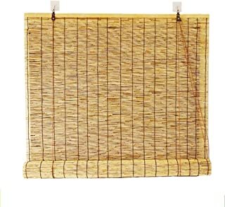Bamboo Curtain Rolling shutters with Solid Material Shade Waterproof and Moisture Proof Pastoral Style, All mounting Parts