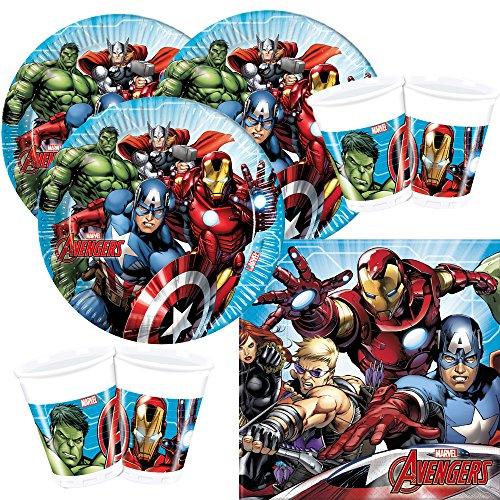 Procos 52-teiliges Party-Set Marvel Mighty Avengers - Teller Becher Servietten für 16 Kinder
