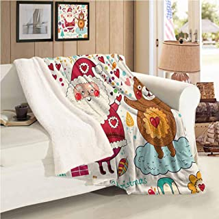 Xlcsomf Comfortable Blanket Christmas Multifunctional Blanket (60 x 47 inch) Santa and Teddy Bear Vintage Christmas Season Ornaments Party Kids Nursery Theme Multicolor