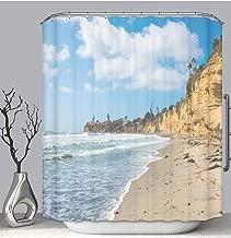 BEICICI Color Shower Curtain Liner Anti-Mildew Antibacterial Ocean surf Sea White Foam on Sand Beach California Coast Near San Diego Custom Shower Curtain Bathtub Bathroom Accessories 54W×78Linch