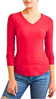No Boundaries Juniors' Brushed V-Neck Long Sleeve Red