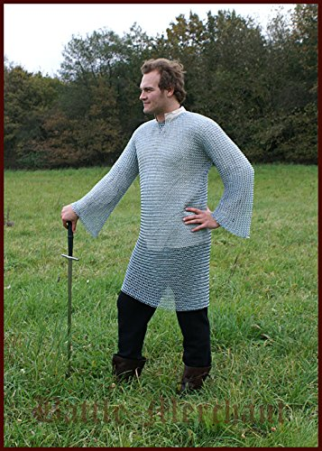 Battle Merchant - Cota de malla de manga larga de vikingo medieval (9 mm, acero galvanizado, talla XXL)